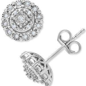 Diamond Halo Cluster Stud Earrings (1/10 ct. t.w.) in Sterling Silver